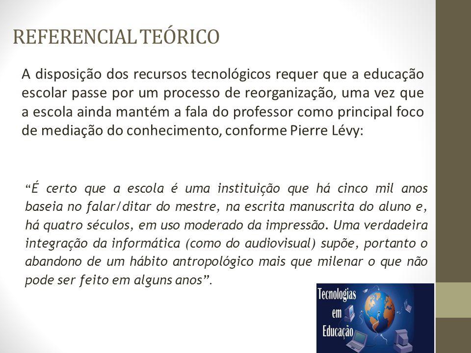REFERENCIAL TEÓRICO A disposição dos recursos tecnológicos requer que a educação escolar passe por um processo de reorganização, uma vez que a escola