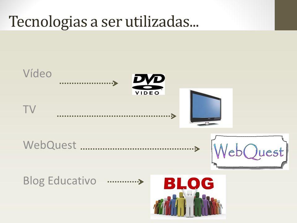 Tecnologias a ser utilizadas... Vídeo TV WebQuest Blog Educativo
