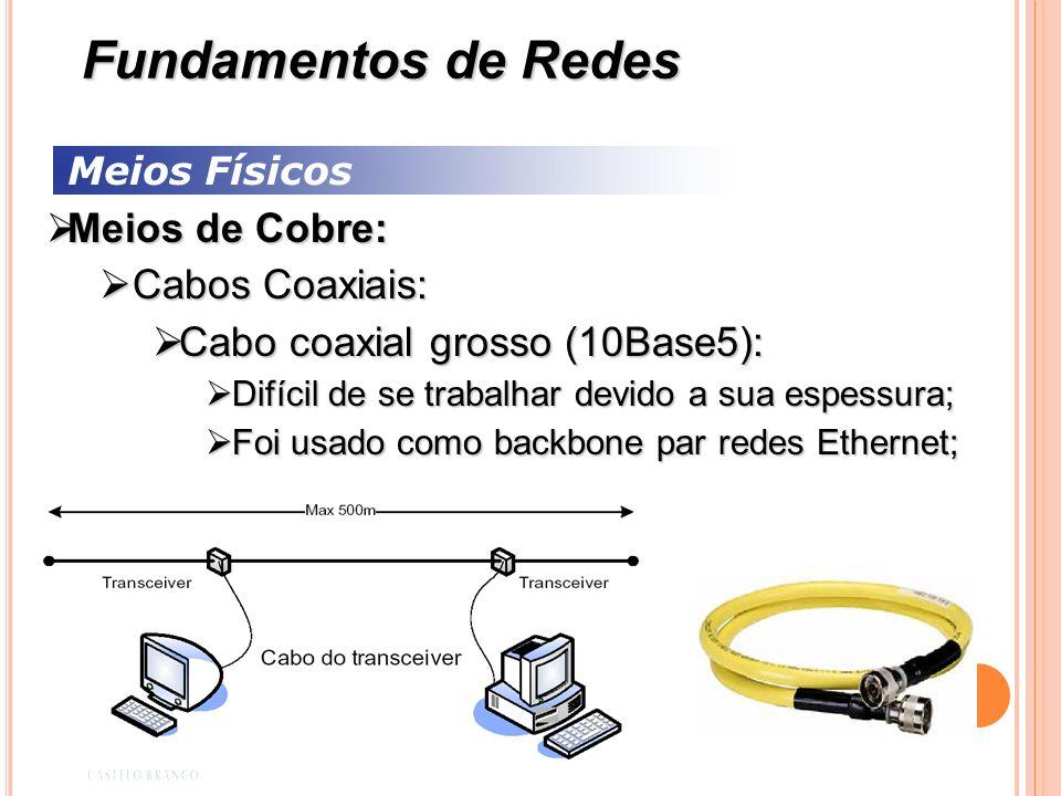 Meios Físicos Meios de Cobre: Meios de Cobre: Cabos Coaxiais: Cabos Coaxiais: Cabo coaxial grosso (10Base5): Cabo coaxial grosso (10Base5): Difícil de