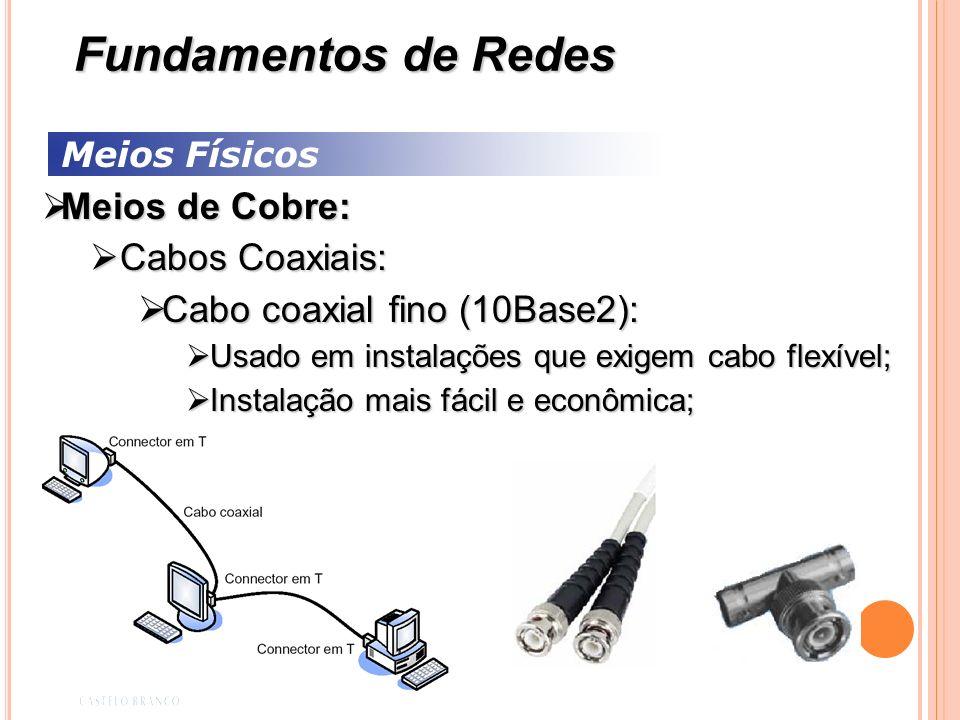 Meios Físicos Meios de Cobre: Meios de Cobre: Cabos Coaxiais: Cabos Coaxiais: Cabo coaxial fino (10Base2): Cabo coaxial fino (10Base2): Usado em insta