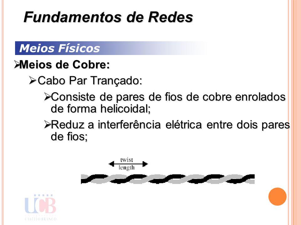 Meios Físicos Meios de Cobre: Meios de Cobre: Cabo Par Trançado: Cabo Par Trançado: Consiste de pares de fios de cobre enrolados de forma helicoidal;
