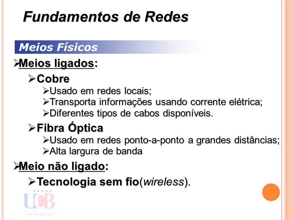 Meios Físicos Meios ligados: Meios ligados: Cobre Cobre Usado em redes locais; Usado em redes locais; Transporta informações usando corrente elétrica;