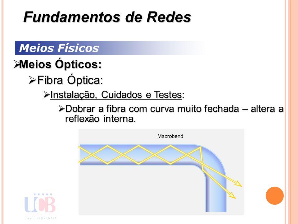 Meios Físicos Meios Ópticos: Meios Ópticos: Fibra Óptica: Fibra Óptica: Instalação, Cuidados e Testes: Instalação, Cuidados e Testes: Dobrar a fibra c
