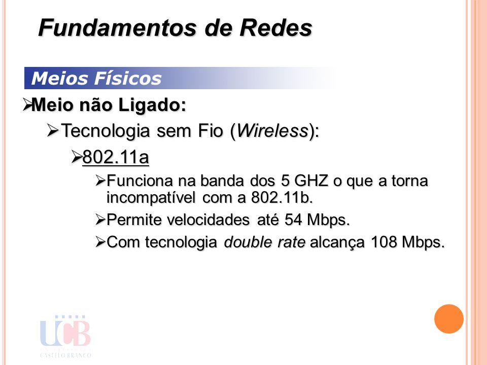 Meios Físicos Meio não Ligado: Meio não Ligado: Tecnologia sem Fio (Wireless): Tecnologia sem Fio (Wireless): 802.11a 802.11a Funciona na banda dos 5