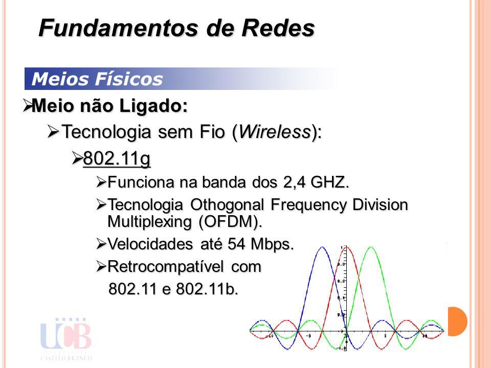 Meios Físicos Meio não Ligado: Meio não Ligado: Tecnologia sem Fio (Wireless): Tecnologia sem Fio (Wireless): 802.11g 802.11g Funciona na banda dos 2,