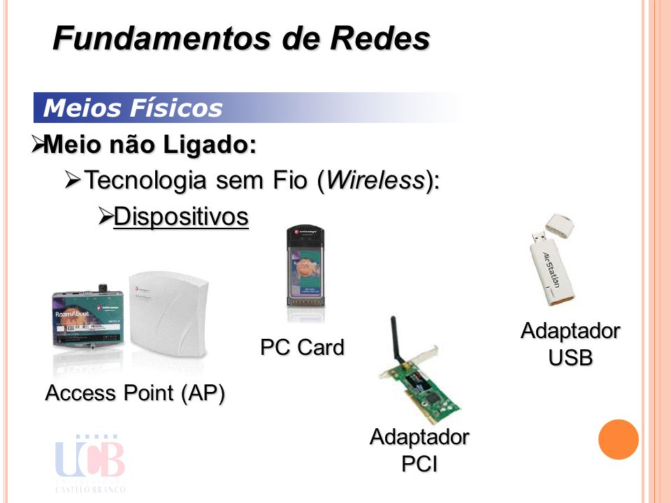 Meios Físicos Meio não Ligado: Meio não Ligado: Tecnologia sem Fio (Wireless): Tecnologia sem Fio (Wireless): Dispositivos Dispositivos Fundamentos de Redes Access Point (AP) PC Card Adaptador USB Adaptador PCI