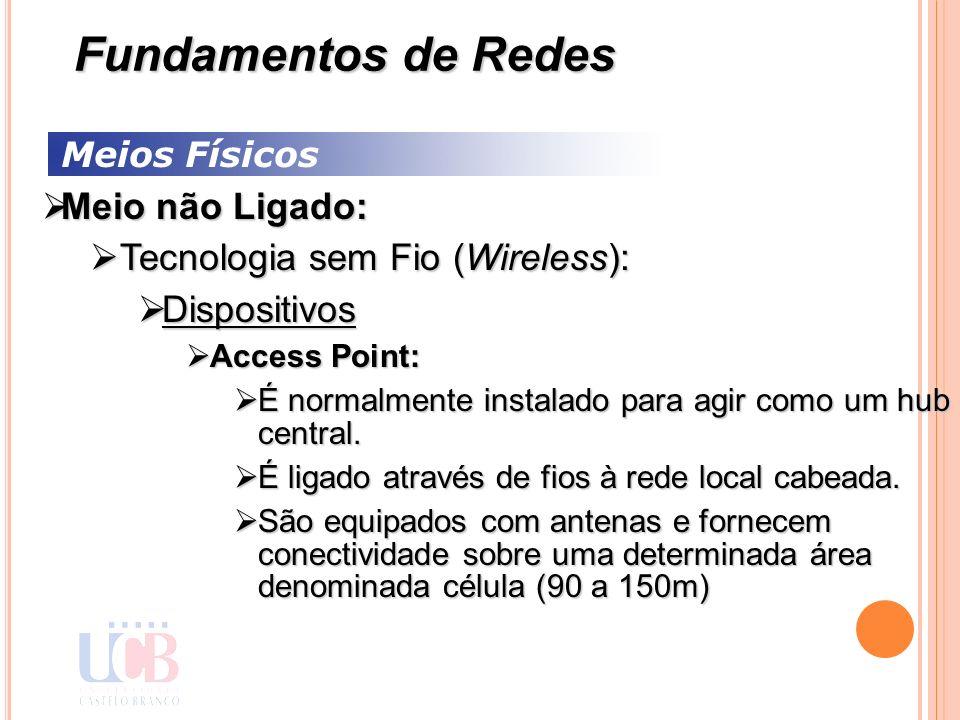 Meios Físicos Meio não Ligado: Meio não Ligado: Tecnologia sem Fio (Wireless): Tecnologia sem Fio (Wireless): Dispositivos Dispositivos Access Point: