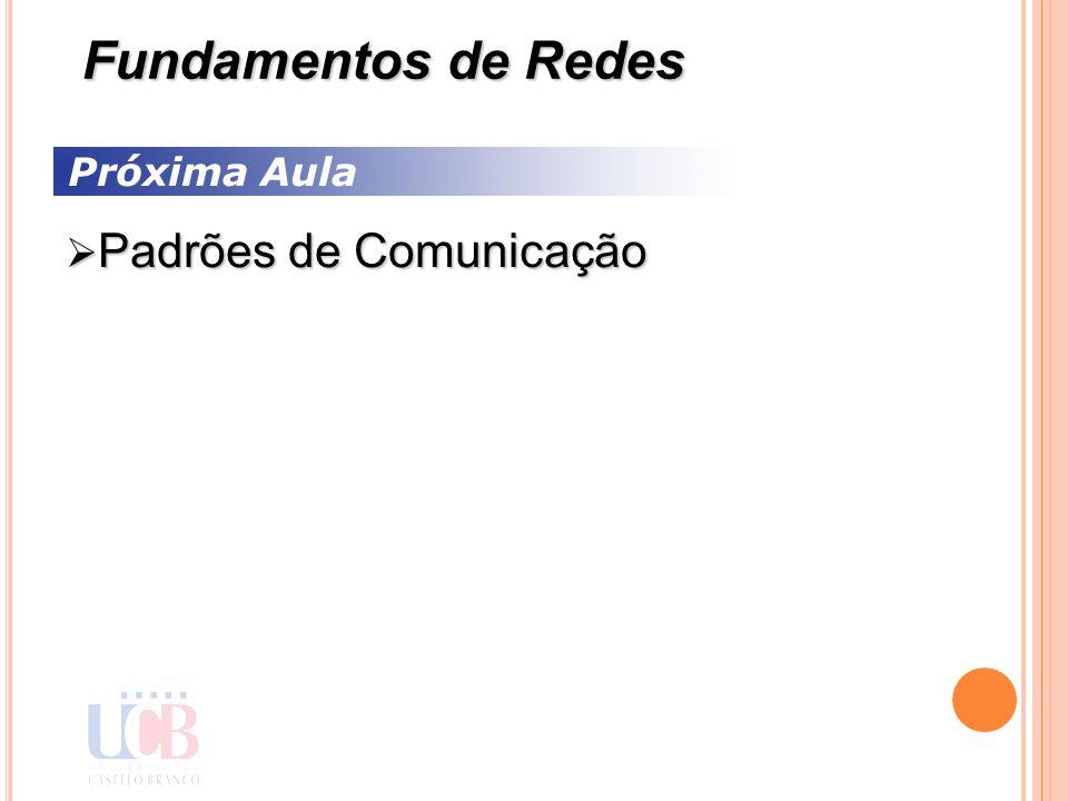 Próxima Aula Padrões de Comunicação Padrões de Comunicação Fundamentos de Redes