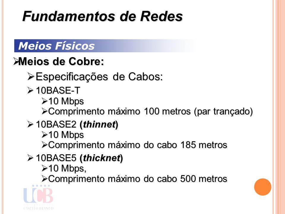 Meios Físicos Meios de Cobre: Meios de Cobre: Especificações de Cabos: Especificações de Cabos: 10BASE-T 10BASE-T 10 Mbps 10 Mbps Comprimento máximo 1