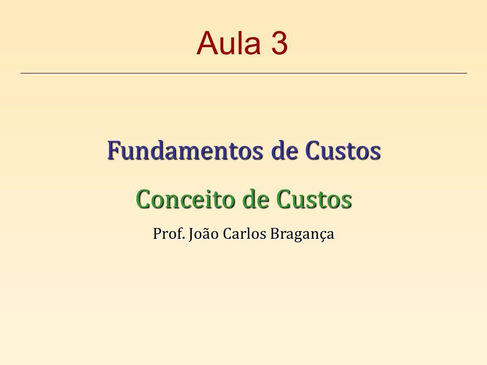 Fundamentos de Custos Conceito de Custos Prof. João Carlos Bragança Aula 3