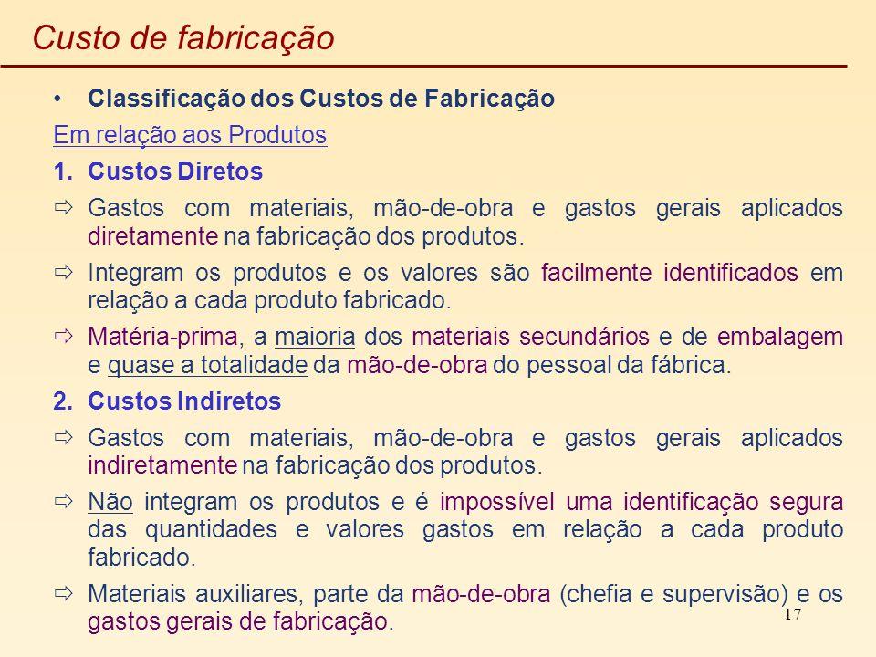 17 Custo de fabricação Classificação dos Custos de Fabricação Em relação aos Produtos 1.Custos Diretos Gastos com materiais, mão-de-obra e gastos gera