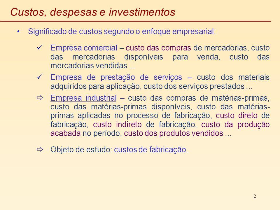 2 Custos, despesas e investimentos Significado de custos segundo o enfoque empresarial: Empresa comercial – custo das compras de mercadorias, custo da