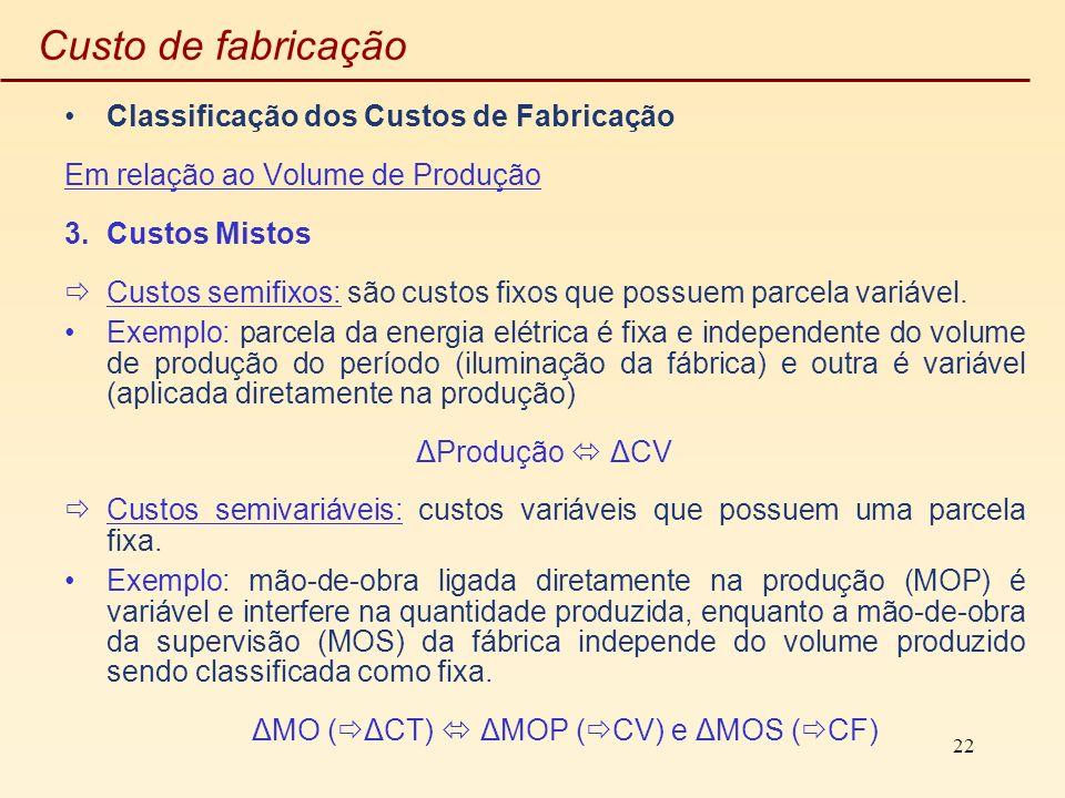 22 Custo de fabricação Classificação dos Custos de Fabricação Em relação ao Volume de Produção 3.Custos Mistos Custos semifixos: são custos fixos que