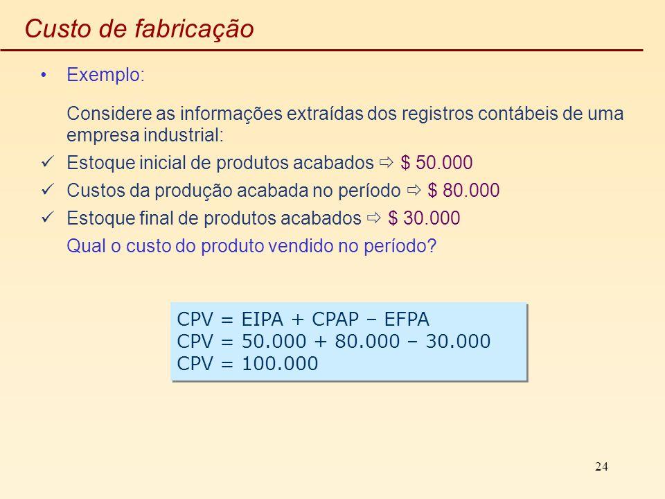 24 Custo de fabricação Exemplo: Considere as informações extraídas dos registros contábeis de uma empresa industrial: Estoque inicial de produtos acab