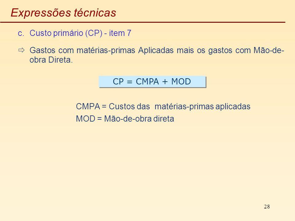 28 Expressões técnicas c.Custo primário (CP) - item 7 Gastos com matérias-primas Aplicadas mais os gastos com Mão-de- obra Direta. CMPA = Custos das m