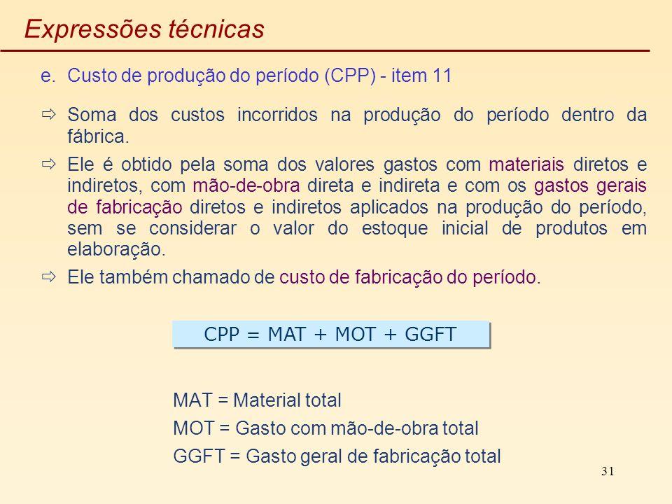 31 Expressões técnicas e.Custo de produção do período (CPP) - item 11 Soma dos custos incorridos na produção do período dentro da fábrica. Ele é obtid