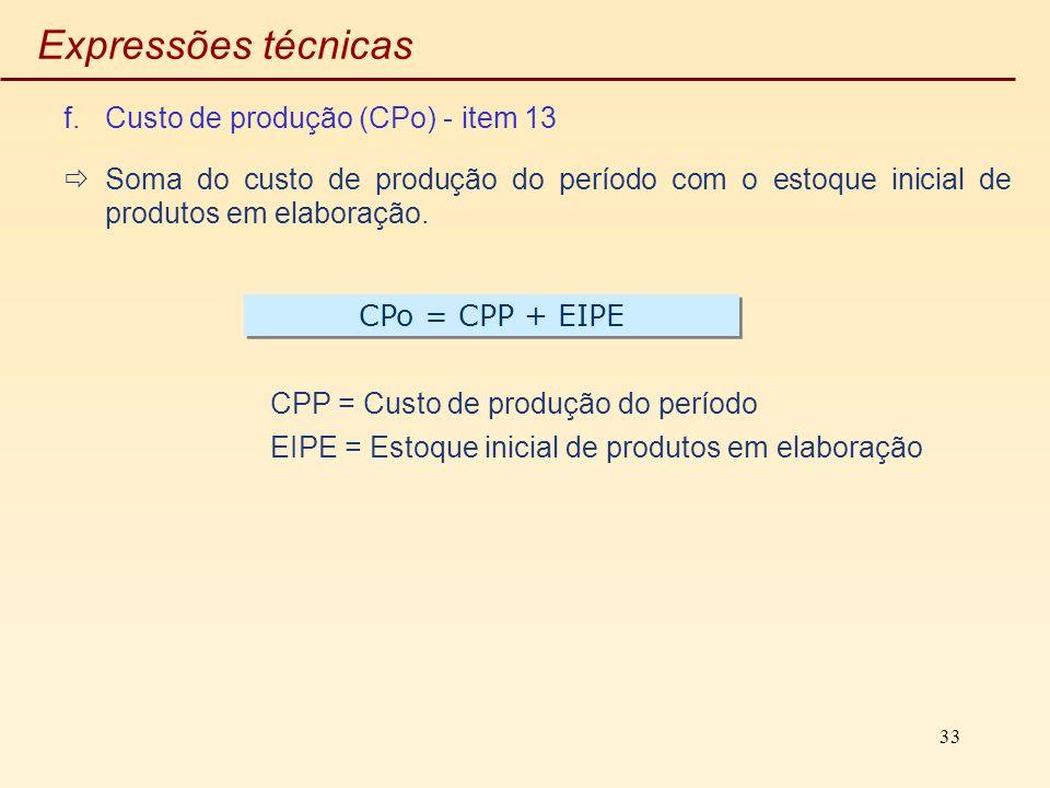 33 Expressões técnicas f.Custo de produção (CPo) - item 13 Soma do custo de produção do período com o estoque inicial de produtos em elaboração. CPP =