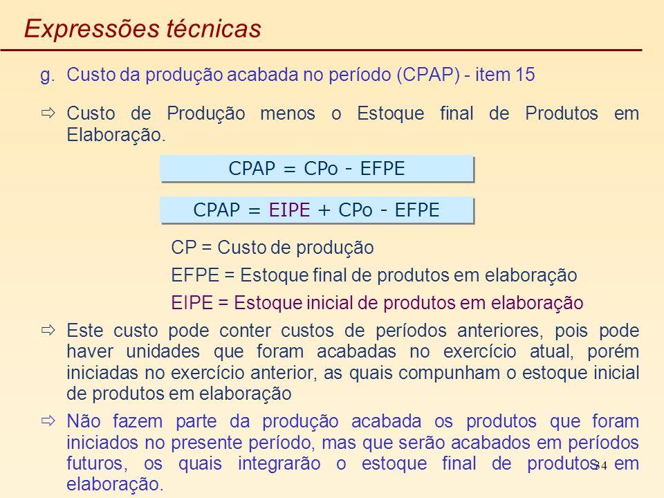 34 Expressões técnicas g.Custo da produção acabada no período (CPAP) - item 15 Custo de Produção menos o Estoque final de Produtos em Elaboração. CP =