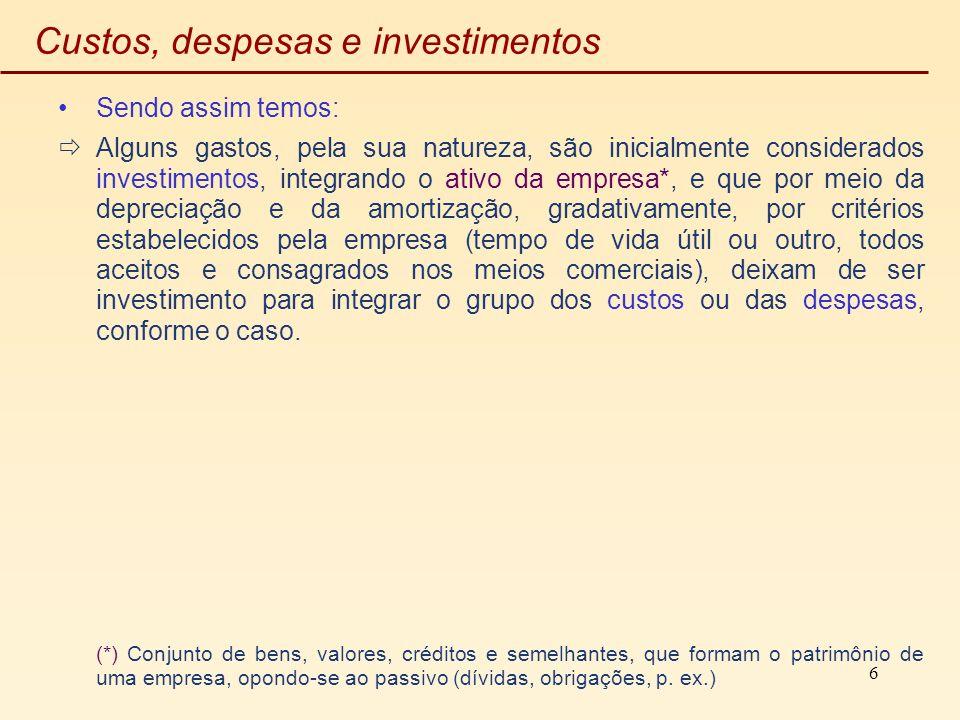 6 Custos, despesas e investimentos Sendo assim temos: Alguns gastos, pela sua natureza, são inicialmente considerados investimentos, integrando o ativ