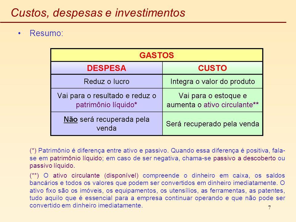 7 Custos, despesas e investimentos Resumo: (*) Patrimônio é diferença entre ativo e passivo. Quando essa diferença é positiva, fala- se em patrimônio