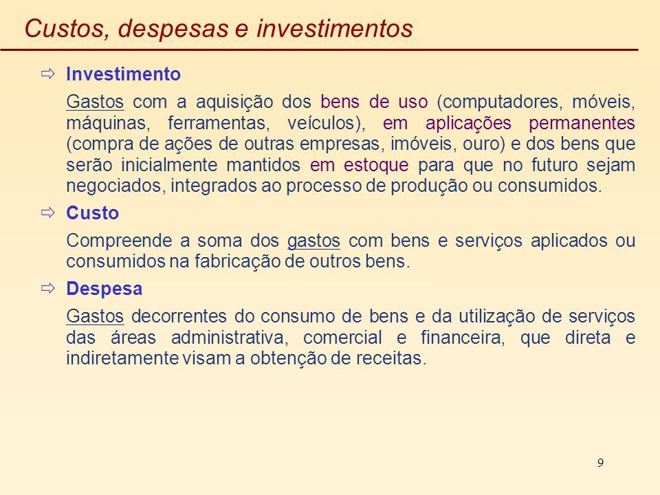 9 Custos, despesas e investimentos Investimento Gastos com a aquisição dos bens de uso (computadores, móveis, máquinas, ferramentas, veículos), em apl