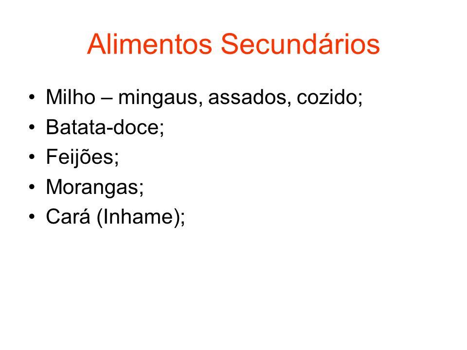 Alimentos Secundários Milho – mingaus, assados, cozido; Batata-doce; Feijões; Morangas; Cará (Inhame);