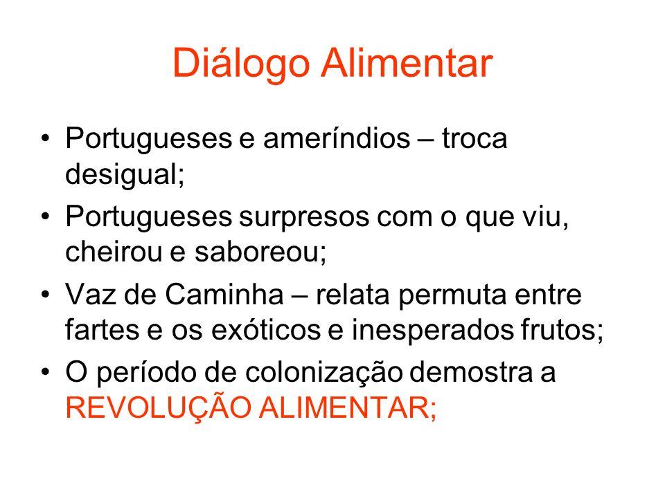 Diálogo Alimentar Portugueses e ameríndios – troca desigual; Portugueses surpresos com o que viu, cheirou e saboreou; Vaz de Caminha – relata permuta