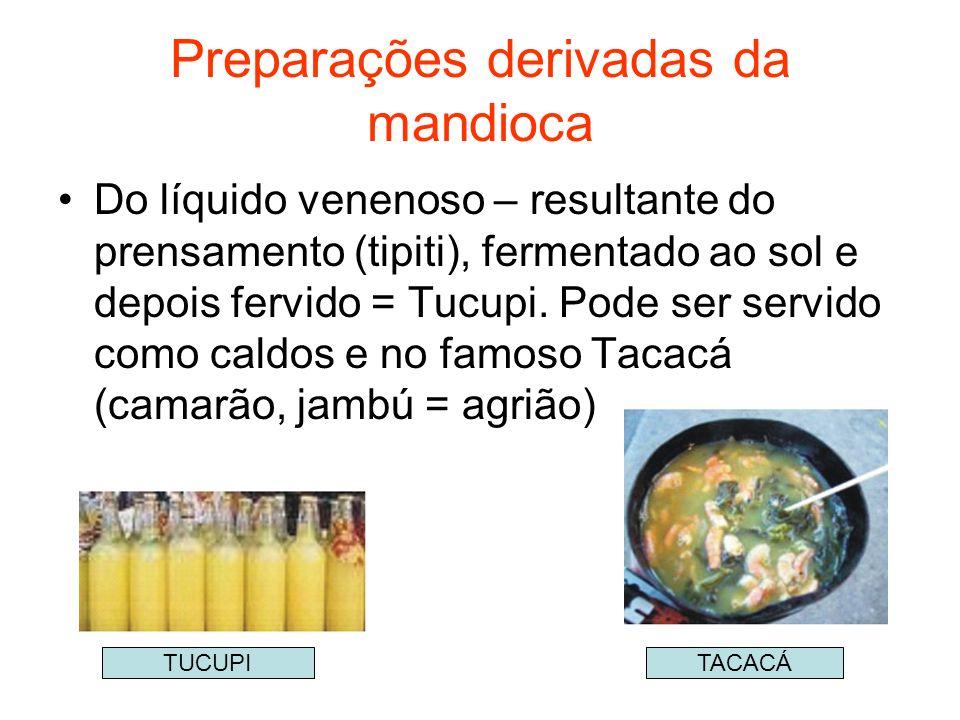 Preparações derivadas da mandioca Do líquido venenoso – resultante do prensamento (tipiti), fermentado ao sol e depois fervido = Tucupi. Pode ser serv