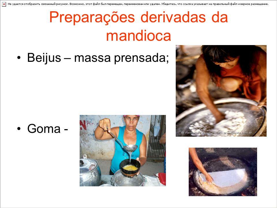 Preparações derivadas da mandioca Beijus – massa prensada; Goma -
