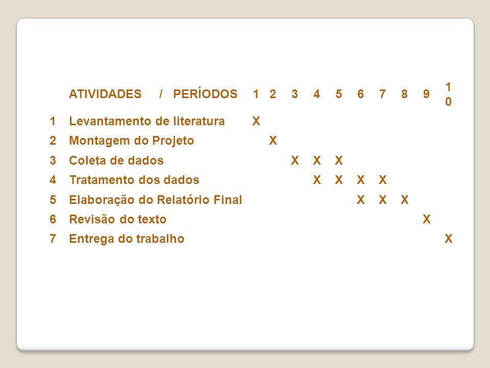 ATIVIDADES / PERÍODOS123456789 1010 1Levantamento de literaturaX 2Montagem do Projeto X 3Coleta de dados XXX 4Tratamento dos dados XXXX 5Elaboração do