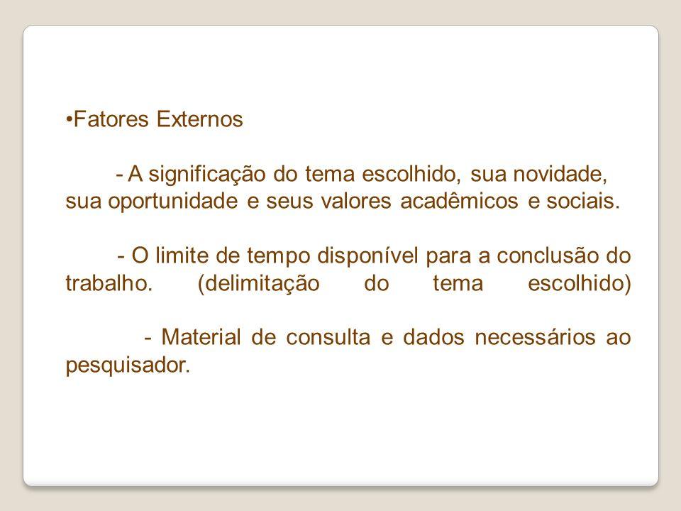 Fatores Externos - A significação do tema escolhido, sua novidade, sua oportunidade e seus valores acadêmicos e sociais. - O limite de tempo disponíve