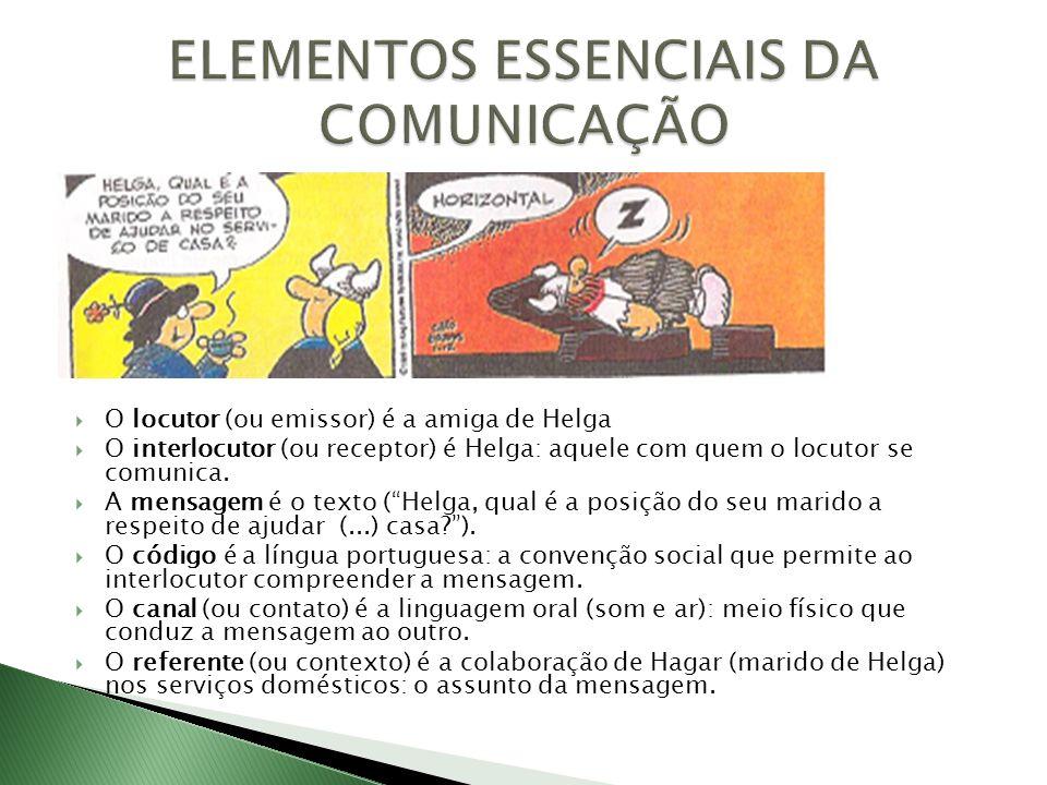 O locutor (ou emissor) é a amiga de Helga O interlocutor (ou receptor) é Helga: aquele com quem o locutor se comunica. A mensagem é o texto (Helga, qu