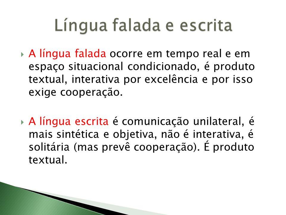 A língua falada ocorre em tempo real e em espaço situacional condicionado, é produto textual, interativa por excelência e por isso exige cooperação. A