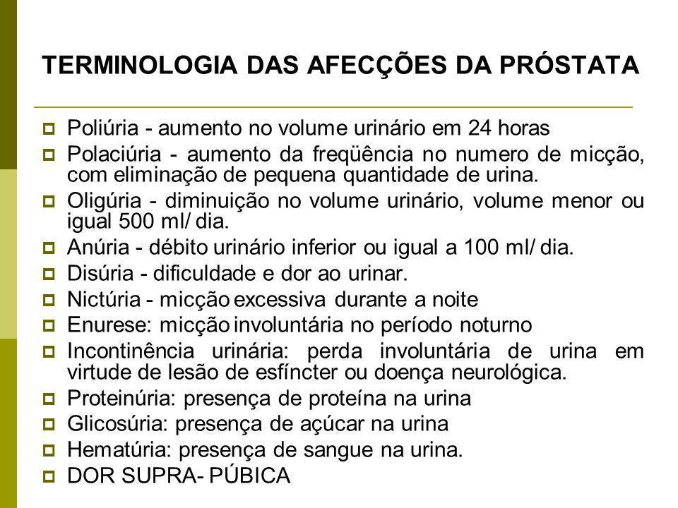 TERMINOLOGIA DAS AFECÇÕES DA PRÓSTATA Poliúria - aumento no volume urinário em 24 horas Polaciúria - aumento da freqüência no numero de micção, com el