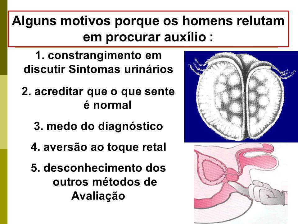 1. constrangimento em discutir Sintomas urinários 2. acreditar que o que sente é normal 3. medo do diagnóstico 4. aversão ao toque retal 5. desconheci