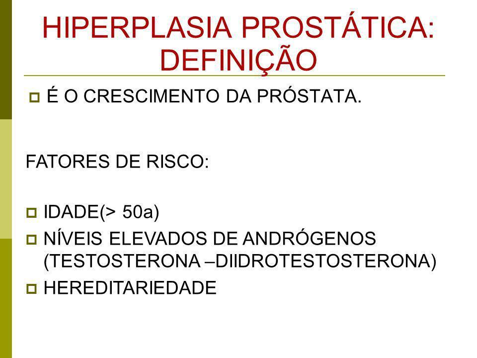 HIPERPLASIA PROSTÁTICA: DEFINIÇÃO É O CRESCIMENTO DA PRÓSTATA. FATORES DE RISCO: IDADE(> 50a) NÍVEIS ELEVADOS DE ANDRÓGENOS (TESTOSTERONA –DIIDROTESTO