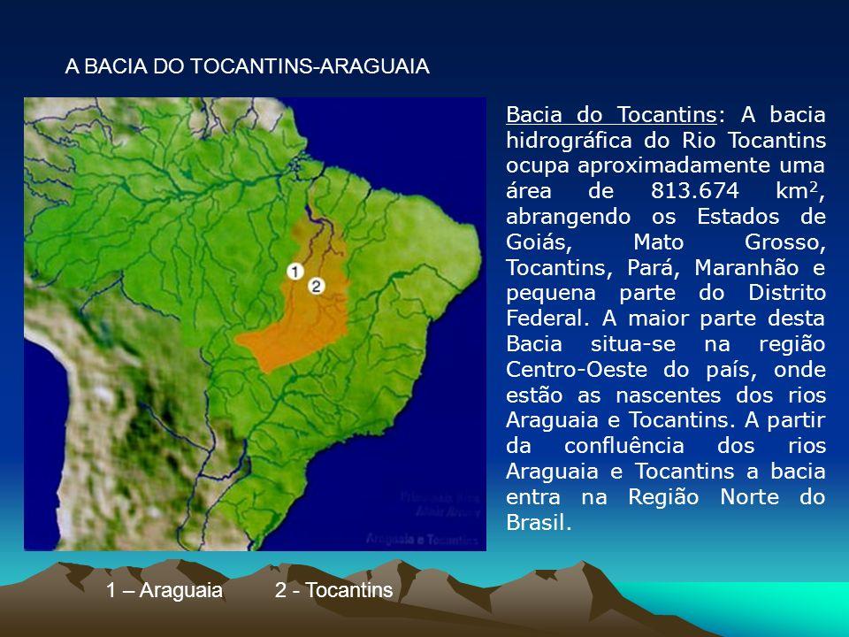Bacia do Tocantins: A bacia hidrográfica do Rio Tocantins ocupa aproximadamente uma área de 813.674 km 2, abrangendo os Estados de Goiás, Mato Grosso,
