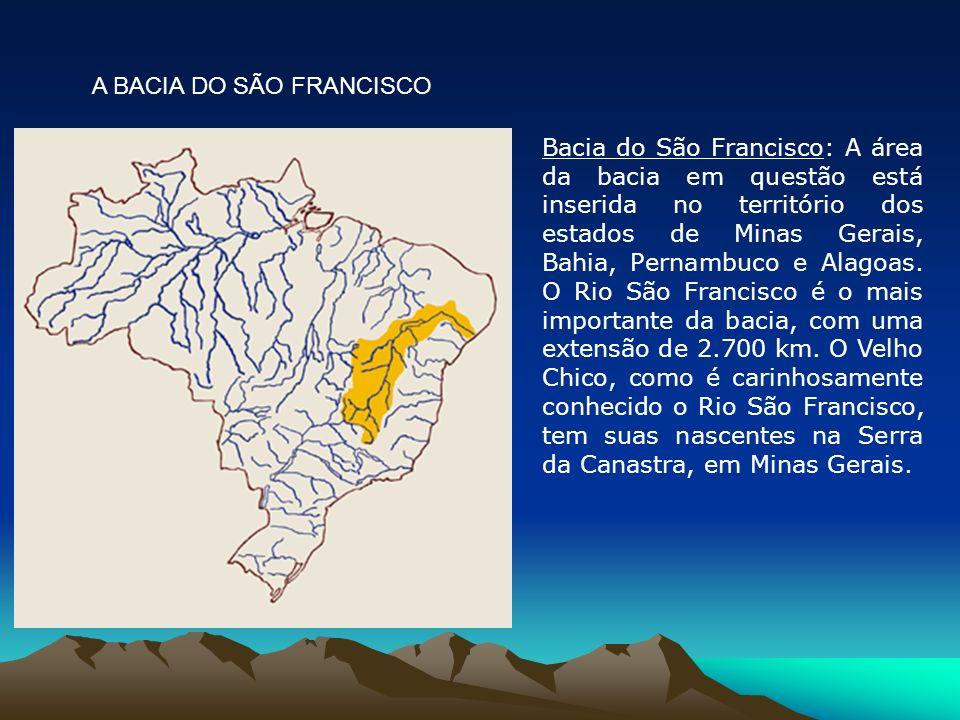 Bacia do São Francisco: A área da bacia em questão está inserida no território dos estados de Minas Gerais, Bahia, Pernambuco e Alagoas. O Rio São Fra