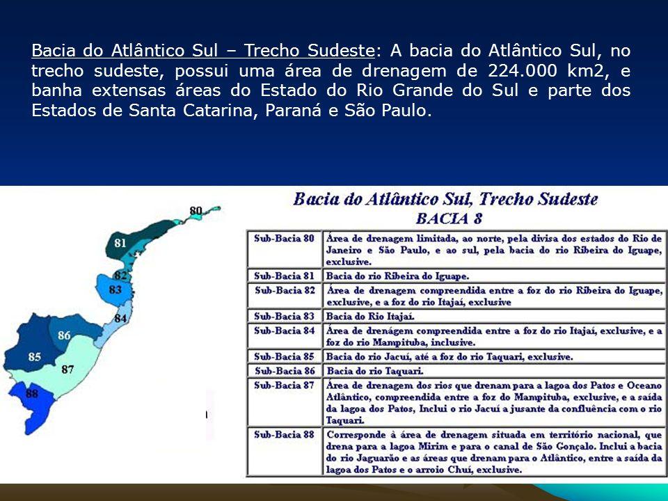 Bacia do Atlântico Sul – Trecho Sudeste: A bacia do Atlântico Sul, no trecho sudeste, possui uma área de drenagem de 224.000 km2, e banha extensas áre