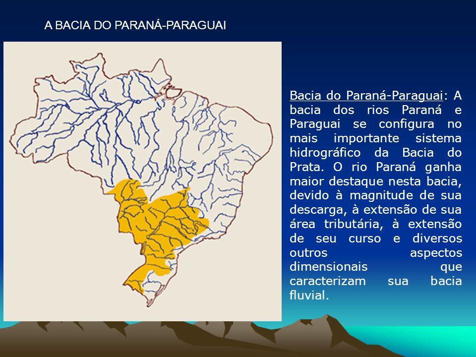 Bacia do Paraná-Paraguai: A bacia dos rios Paraná e Paraguai se configura no mais importante sistema hidrográfico da Bacia do Prata. O rio Paraná ganh