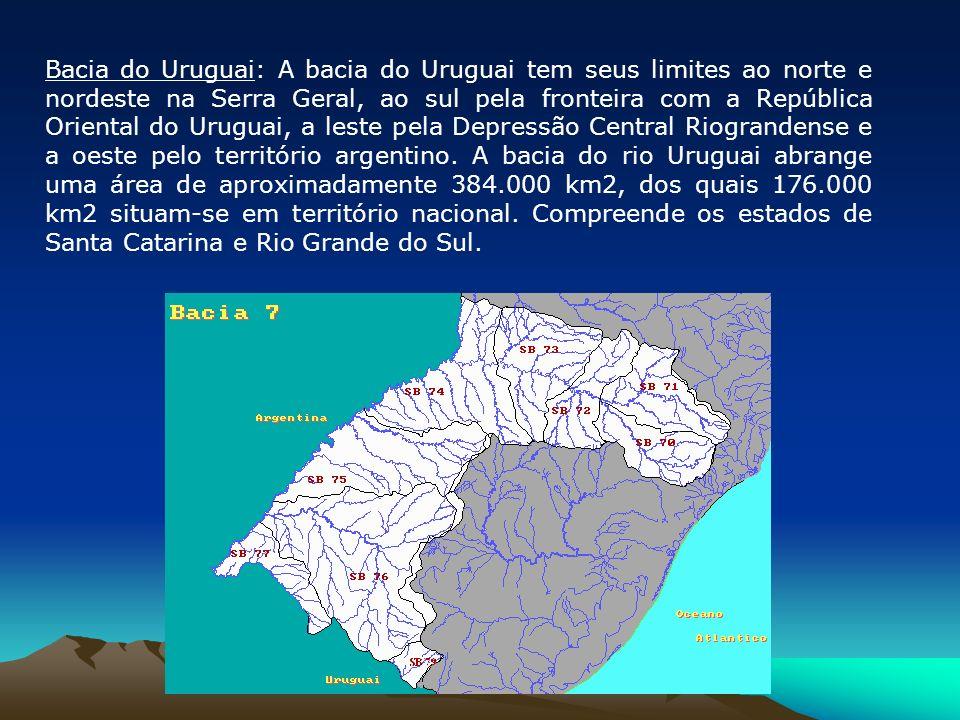Bacia do Uruguai: A bacia do Uruguai tem seus limites ao norte e nordeste na Serra Geral, ao sul pela fronteira com a República Oriental do Uruguai, a
