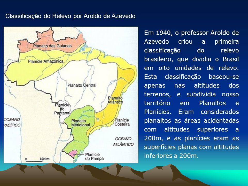Em 1940, o professor Aroldo de Azevedo criou a primeira classificação do relevo brasileiro, que dividia o Brasil em oito unidades de relevo. Esta clas