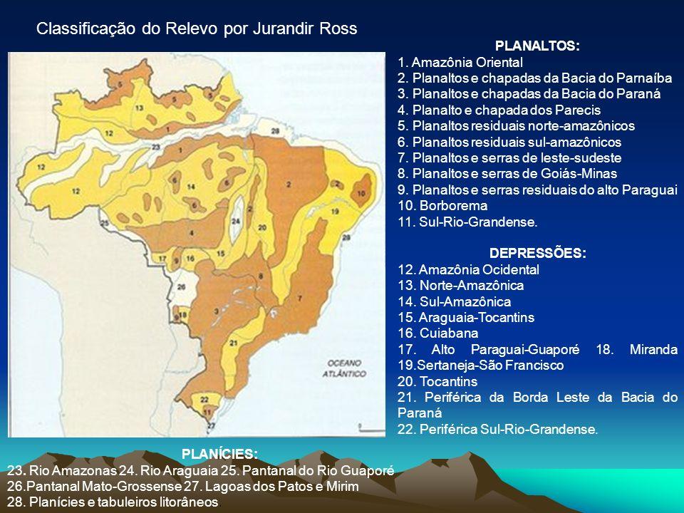 Classificação do Relevo por Jurandir Ross PLANALTOS: 1. Amazônia Oriental 2. Planaltos e chapadas da Bacia do Parnaíba 3. Planaltos e chapadas da Baci