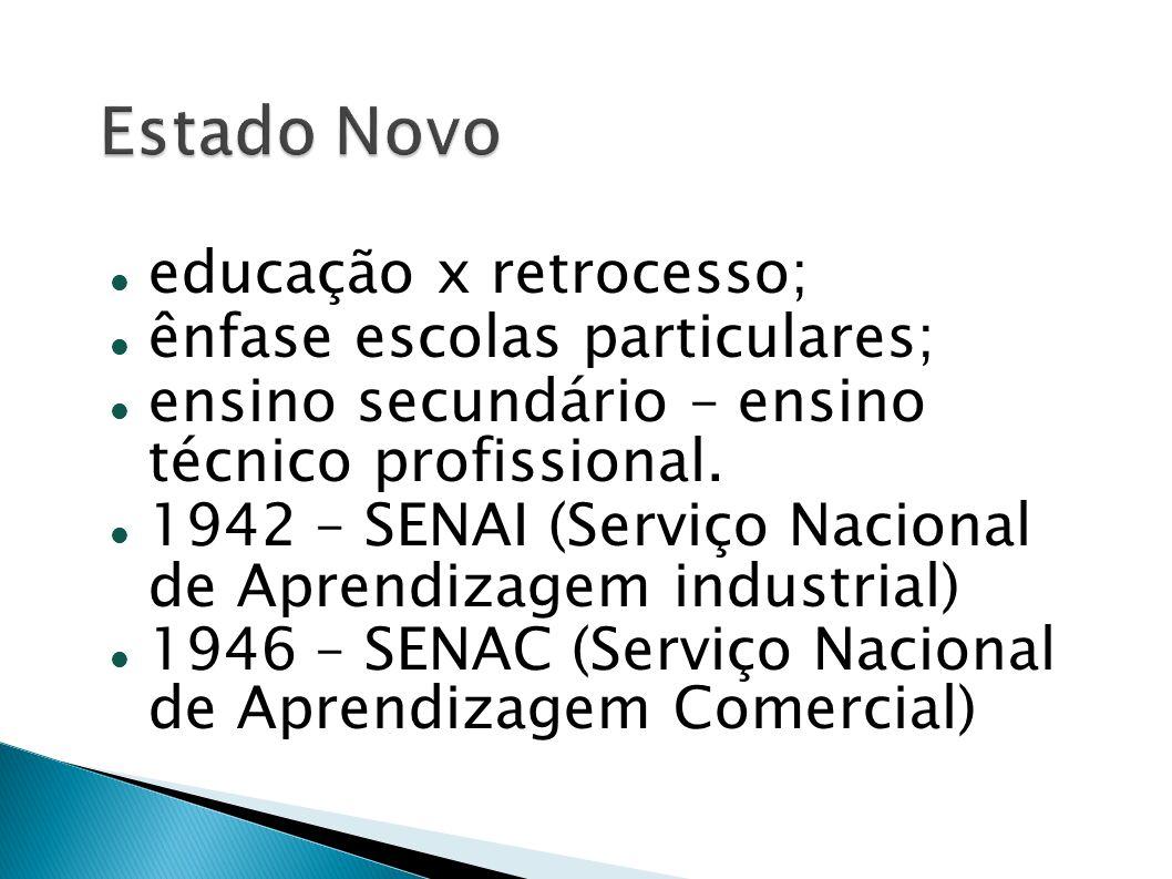 educação x retrocesso; ênfase escolas particulares; ensino secundário – ensino técnico profissional. 1942 – SENAI (Serviço Nacional de Aprendizagem in