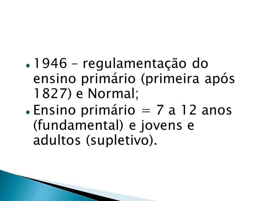 1946 – regulamentação do ensino primário (primeira após 1827) e Normal; Ensino primário = 7 a 12 anos (fundamental) e jovens e adultos (supletivo).