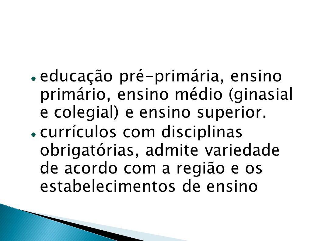 educação pré-primária, ensino primário, ensino médio (ginasial e colegial) e ensino superior. currículos com disciplinas obrigatórias, admite variedad