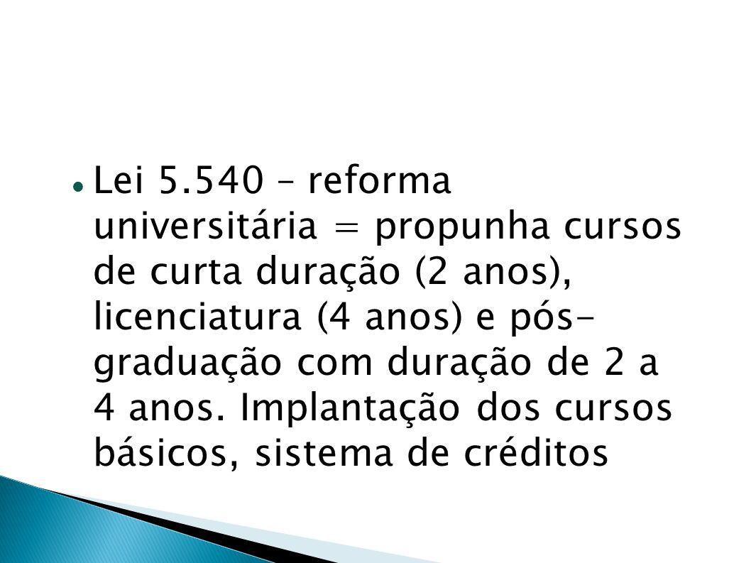 Lei 5.540 – reforma universitária = propunha cursos de curta duração (2 anos), licenciatura (4 anos) e pós- graduação com duração de 2 a 4 anos. Impla