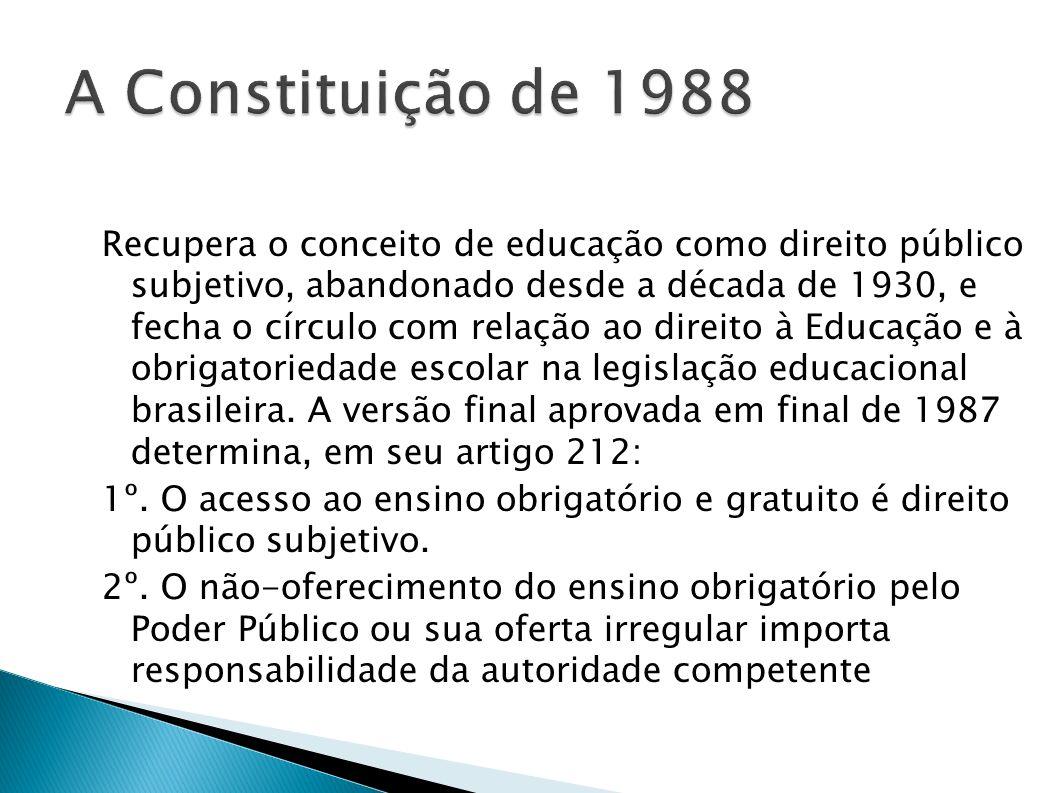 Recupera o conceito de educação como direito público subjetivo, abandonado desde a década de 1930, e fecha o círculo com relação ao direito à Educação
