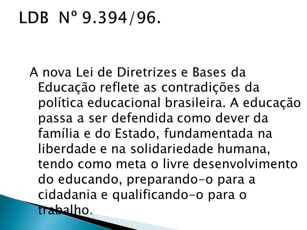 A nova Lei de Diretrizes e Bases da Educação reflete as contradições da política educacional brasileira. A educação passa a ser defendida como dever d