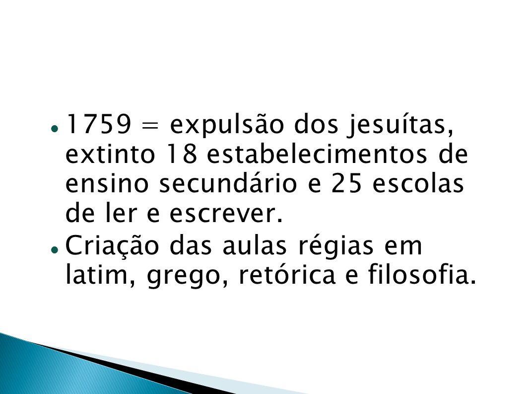 1759 = expulsão dos jesuítas, extinto 18 estabelecimentos de ensino secundário e 25 escolas de ler e escrever. Criação das aulas régias em latim, greg